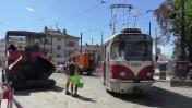 Oprava tratě u vozovny Strašnice